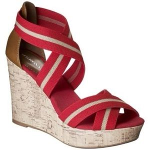 MERONA Emilia Red/Tan Wedge Strappy Sandals
